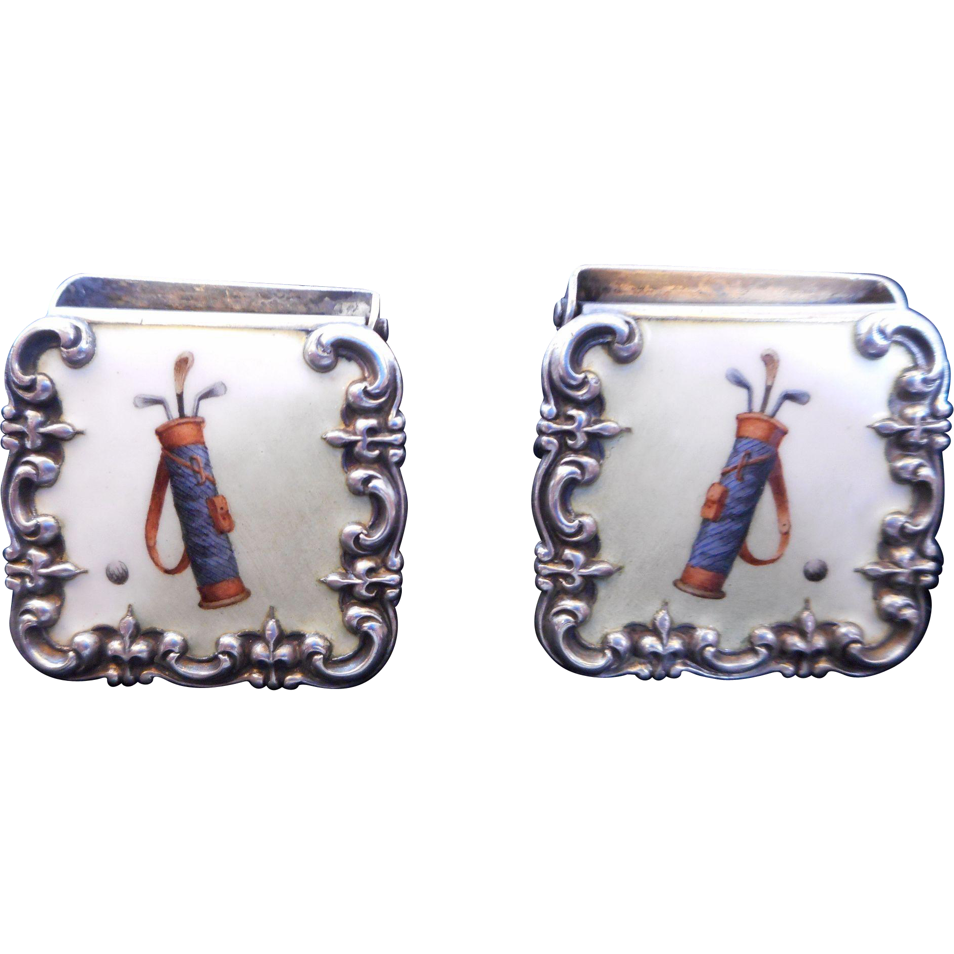 Sterling and Enamel GOLF Suspender Clips