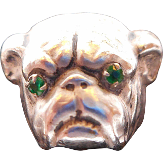 Antique Victorian Bulldog hatpin
