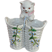 Porcelain/Glazed China Cat Vase - French