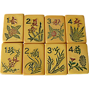 """Check out this lovely old Vintage """"2-TONE IVORYCRAFT"""" Mah Jong game - 152 tiles - 50/50 GREEN BACKS!"""