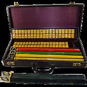 Vintage ROYAL ENROBED Mah Jong game - BURGUNDY - 152 tiles with 16 natural flowers!