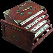 "Vintage sitting sparrow ""BONE & BAMBOO"" Mah Jong Game - 50/50 bone/bamboo tiles with traditional Rosewood box"