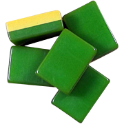 "Vintage ""2-TONE AP GAMES"" vibrant GREEN Mah Jong game - 152 tiles - Chinese or NMJL rules ready !"