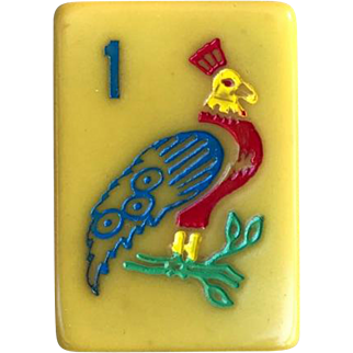 """Limited Edition - """"CRISLOID - Royal Gold Medal"""" vintage mah jong game - 152 beautiful tiles - 16 NATURAL flowers - ready for Chinese or NMJL play!"""
