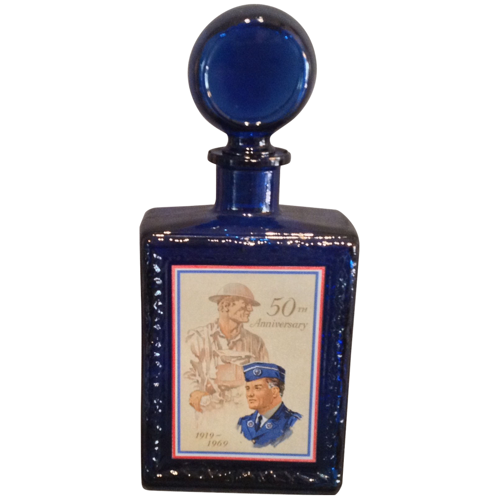 Cobalt Blue Glass Bottle with Original Stopper