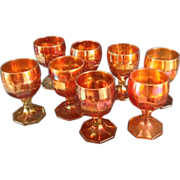 "8 Imperial ""Flute"" Pattern Carnival Glass Goblets"