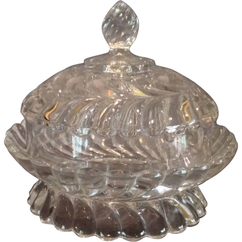 """EAPG """"Plume"""" Pattern Covered Butter Dish"""