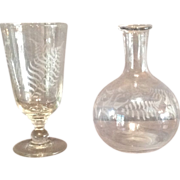 Flint Glass Engraved Celery Vase and Carafe