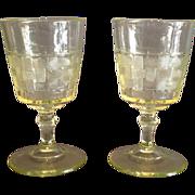 """Pair of Vaseline """"Basketweave"""" Pattern Goblets"""
