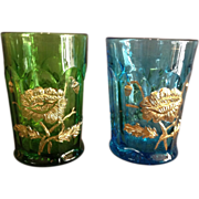 "2 Northwood ""Oriental Poppy"" Pattern Tumblers"