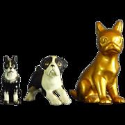 3 Ceramic Bosten Terrier Figurines