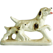 Ceramic Adult and Puppy Setter Figurine