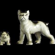 Ceramic Boxer and Bulldog Figurines