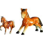 A Ceramic Pony and A Metal Pony Figurines