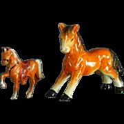 A Ceramic Pony and A Metal Pony Figurines