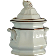"Ironstone ""Grape Octagon"" Body Covered Sugar Bowl"