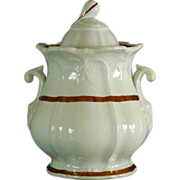 "Ironstone ""Framed Leaf"" Body Covered Sugar Bowl"