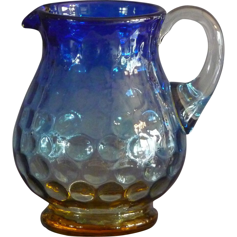 Small Blurina Glass Pitcher From Bluemantelantiques On