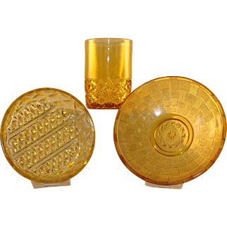 3 Amber Colored Pieces of EAPG