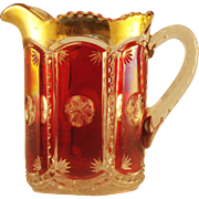 Ruby Stained Frost Crystal Pattern Pitcher
