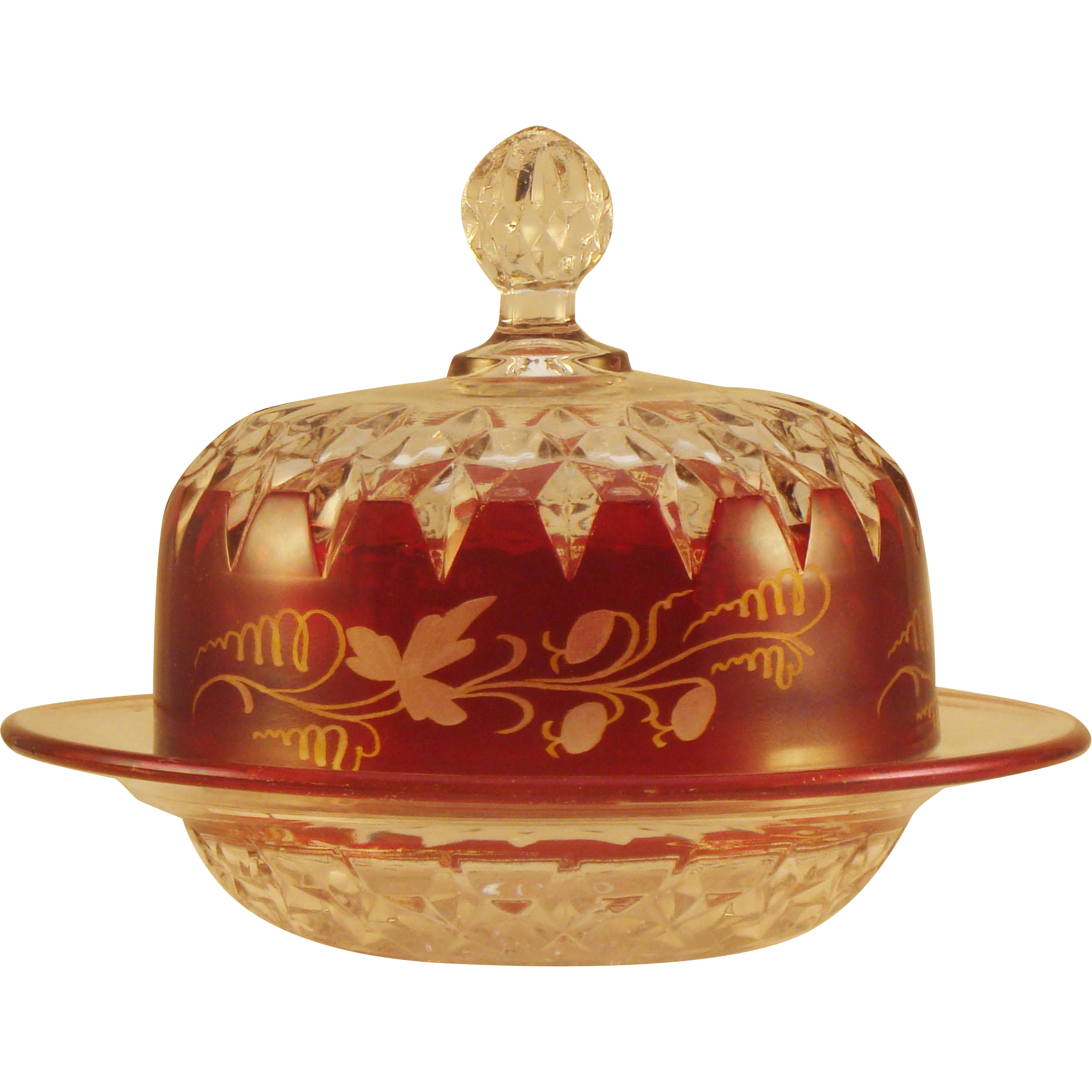 Ruby Stained Corona Pattern  Butter Dish with Lid