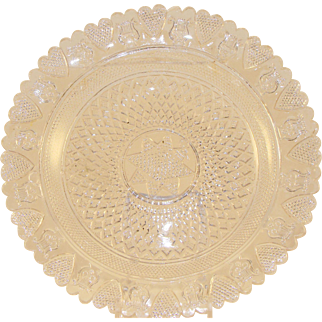 Early American Pressed Lacy Glass Dish