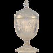 Flint Glass Bellflower Pattern Footed Sugar w/Lid