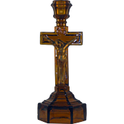 Amber Glass Crucifix Form Candlestick
