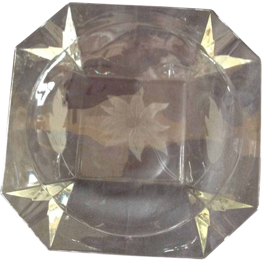 Mid Century Engraved Crystal Ashtray