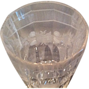 Pair of Engraved Bohemian Wine Glasses