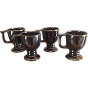 Set of 4 Frankoma Pottery Pedestal Mugs