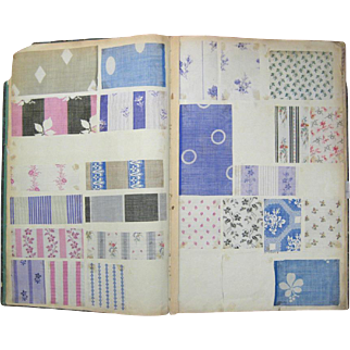 Antique Beautiful 19th Century Printed French Cotton Swatch Book (901)