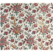 Antique Rare 18th C. French Cotton Floral Block Printed Fabric (2035)