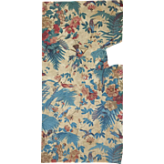 19th C. French Cotton Chintz Fabric with Birds and Flowers (2045)