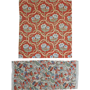 2 piece of Vintage 1930's French Linen Printed Floral Fabric ( 2049 )
