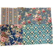 Antique 19th / 20th C. Bundled Lot of French Floral Silk /Cotton Fabrics (2066)