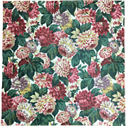 Beautiful Early 20th Century French Floral Cotton Chintz Fabric ( 2092)