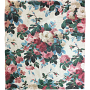 Beautiful Early 20th Century French Floral Cotton Chintz Fabric ( 2093)