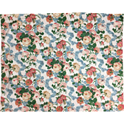 Beautiful 20th Century English Printed Floral Cotton Ikat Fabric ( 2095)