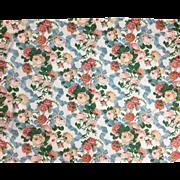 Beautiful 20th Century English Printed Floral Cotton Ikat Fabric ( 2095)