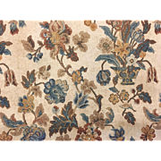 Early 20th Century French Floral Linen Printed Fabric (2107)