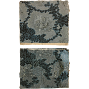 Beautiful Rare Late 18th Century 2 pcs of Wood Blocked French Wallpaper (2170)