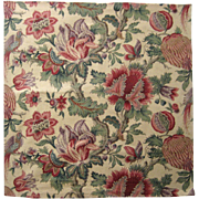 Antique 19th Century French Exotic Jacobean Floral Cotton Print (9521)