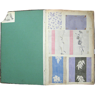 Antique Beautiful 19th Century Printed French Cotton Swatch Book 901