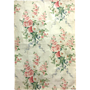 19th Century French Floral Cotton Chintz Fabric (2028)