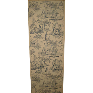 Charming  20th C. French Scenic Toile Wallpaper (8279)