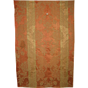 Antique Beautiful 19th C. French Silk/Cotton Woven Amberline Fabric (8646)