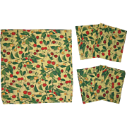 Charming Vintage 1930's/40's American Cherries Tablecloth & 4 Napkins (8867)