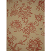 Antique Beautiful 19th C. French Exotic Floral Toile Wallpaper (8913)