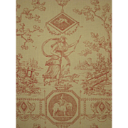 Antique Beautiful 19th C. French Neoclassic Toile Wallpaper (9374))